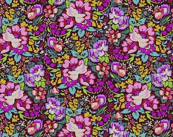 Anna Maria Horner Stoff Love Always Overachiever Burgund Forest Mystery Velvet Blumen Bouquet Deko 0,5 m USA Designerstoff reine Baumwolle