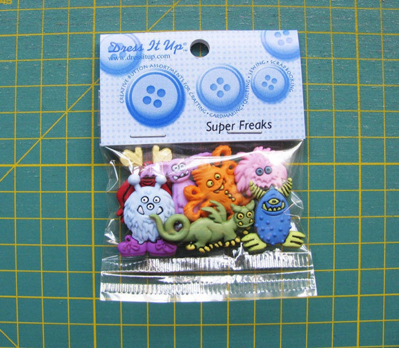 Dress it up Buttons 1 Pack Super Freaks Buttons Kids Buttons image 0