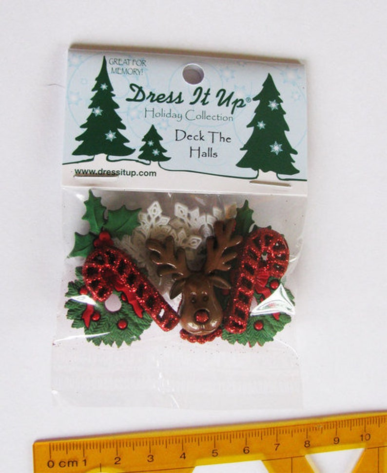 Dress it up buttons 1 pack deck the halls decoknage Christmas image 0