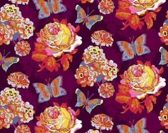 Anna Maria Horner Stoff Love Always Clippings Lush Charcoal Lichen Amethyst Blumen Deko Rosen 0,5 m USA Designer stoff reine Baumwolle