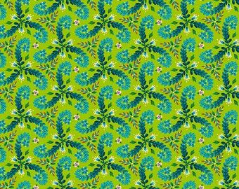 Odile Bailloeul Magi Country Cotton fronds green Stoff Dekostoff grün Quallen Fische reine Baumwolle 0,5 m Romantik Blumen Quallen Tiere