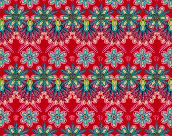 Odile Bailloeul Magi Country Cotton Plumettes rouge Stoff Dekostoff Quallen Fische reine Baumwolle 0,5 m Romantik Blumen Quallen Tiere