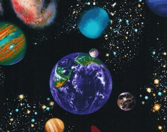 Black space Stoff Deko Weltraum Weltall Timeless Treasures schwarz blau 0,5 m USA Designerstoff reine Baumwolle