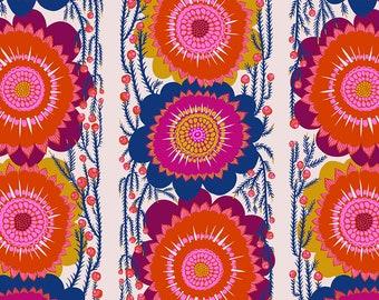 Anna Maria Horner Stoff Bright eyes Optimistic cream Blumen flowers fabric Überbreite Rückseitenstoff 1 m Backing reine Baumwolle