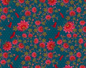 Odile Bailloeul Magi Country Cotton Ibis blue Stoff Dekostoff Quallen Fische reine Baumwolle 0,5 m Romantik Blumen Quallen Tiere