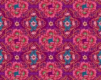 Odile Bailloeul Magi Country Cotton Mini Gecko plum Stoff Dekostoff Quallen Fische reine Baumwolle 0,5 m Romantik Blumen Quallen Tiere