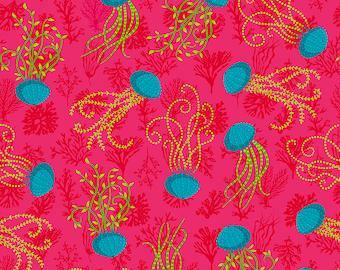 Odile Bailloeul Magi Country Cotton Aquatic pink Stoff Dekostoff pink Quallen Fische reine Baumwolle 0,5 m Romantik Blumen Quallen Tiere