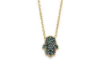Hamsa Blue & White Diamond