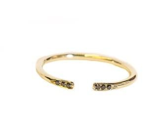 Open Black Diamond Ring, Open Ring, Black Diamond Ring,Modern Engagement Ring