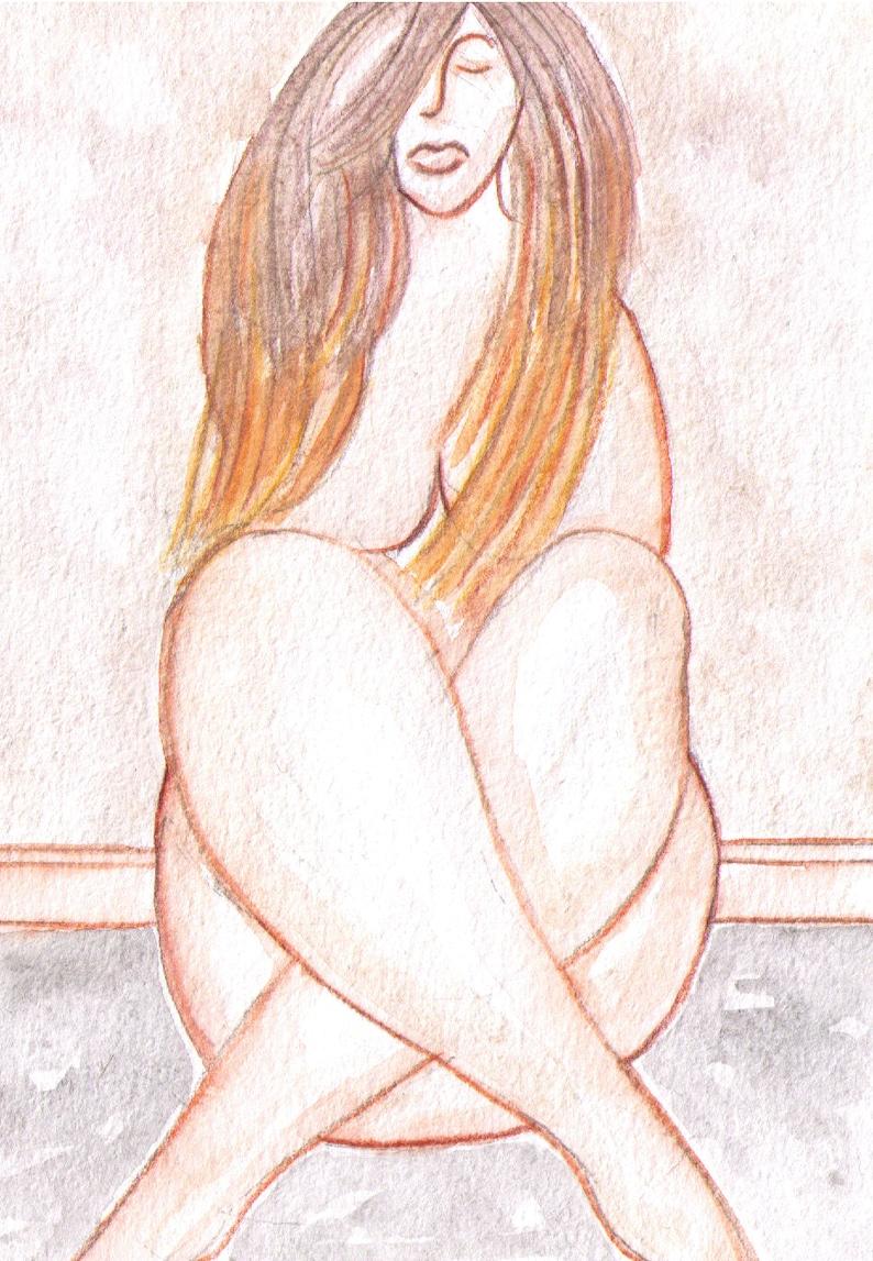 Naked Woman Body Watercolor Original Art Nude Painting Beige