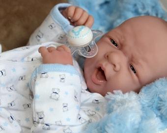 "22/"" Alive Reborn Baby Dolls Toddler Boy Realistic Bebe Silicone Dolls Blue Eyes"