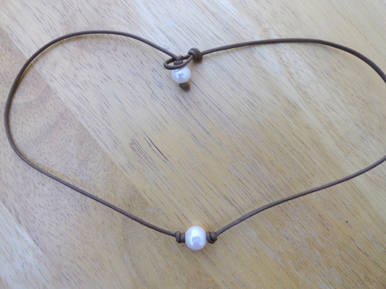 1f0818906c66d Pearl choker- brown leather pearl necklace -milk chocolate- leather choker-  boho style