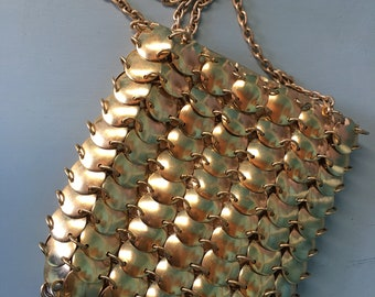 Vintage Gold Metal Disc Purse