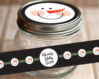 Digital Sheet Mason Jar Canning Label Graphic Winter Frosty Face 12 Snowman Labels 2 Round Strips
