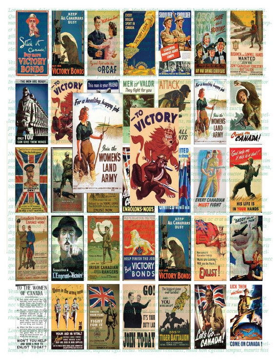 Digital Collage Paper Craft CANADIAN WW2 POSTERS - 1x2 Instant Download  Domino Sized digital print out sheet for craft projects
