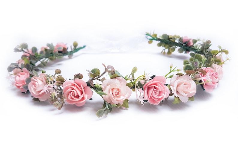 flower crown flower wreath flower girl woodland crown rustic blush pink wedding crown bohemian headpiece Bridal floral crown