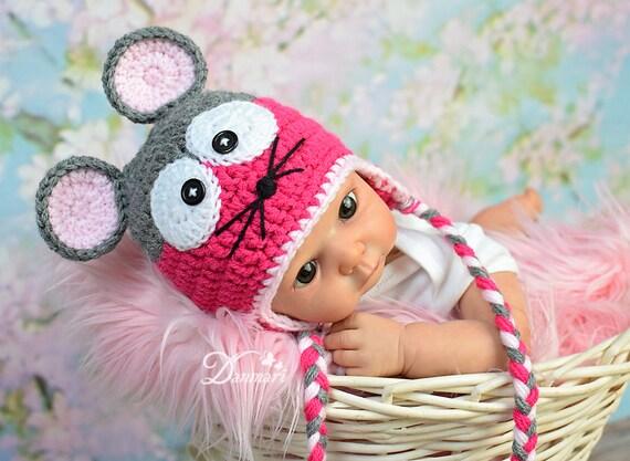 Baby mouse hat, crochet baby hat, crochet hat, mouse hat, baby hat, photo  prop, winter hat,