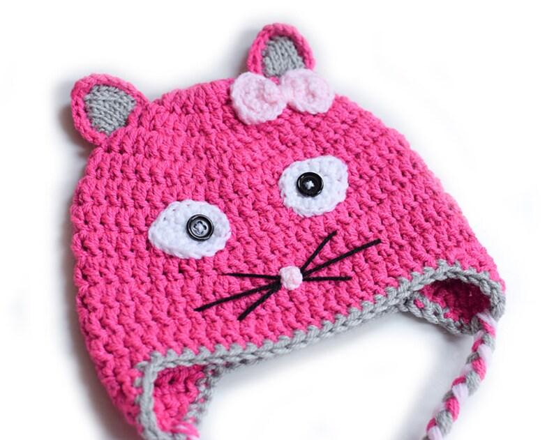 Crochet Kitty Cat Hat Cute Hat Toddler Hat Winter Hat Kids Etsy