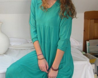 Vintage Cotton Blue-Green Dress With Tiered Ruffled Skirt 1970
