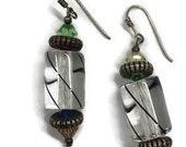 Glass Drop Earrings Crystal Lanterns Striped Asian Beaded Dangle Boho Magenta Green Blue Yellow Beads