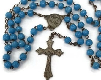 Blue Glass Rosary Catholic Sacred Heart Rosary Vintage Antique Rosary Old Loved Prayer Beads Worship Devotional Aged Beads