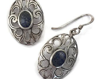 Filigree Drop Earrings Oval Blue Dangle Earrings Silver Stone Drops Wires