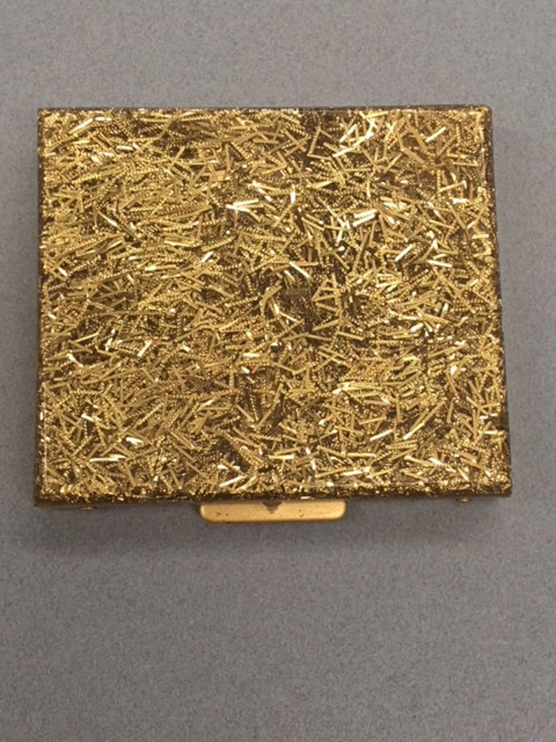 Sparkle Gold Compact Vintage Gilli Originals Lucite Confetti Personal Mirror Compact Powder Case Saks Fifth Ave Style Makeup Vanity Made USA