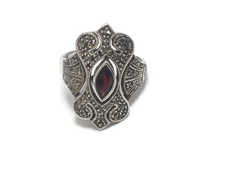 Sterling Red Ring Victorian Statement Ruby CZ Vintage Size 10 Gift