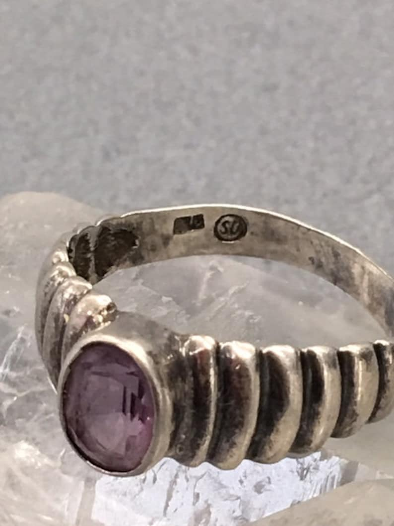 Silver Amethyst Ring Sterling 925 Purple Gemstone Ribbed Band Size 5.75 Vintage Jewelry Gift