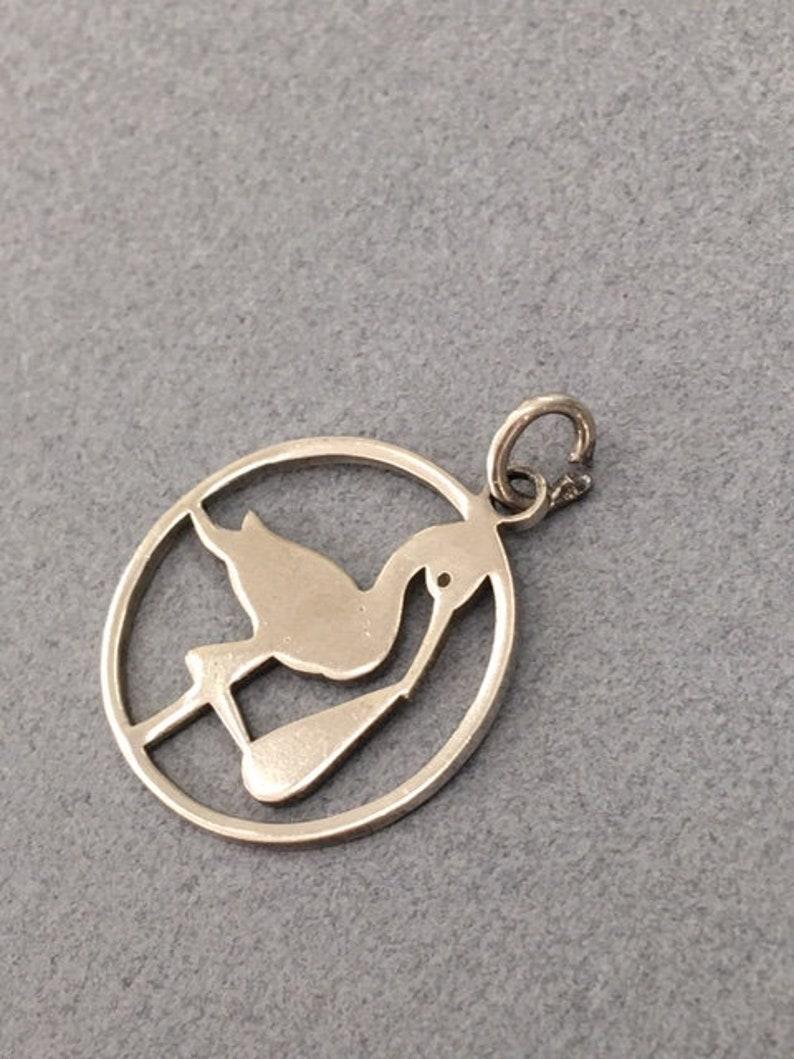 Silver Stork Charm 925 Sterling Bird Jewelry Vintage Nautical Bracelet Gift