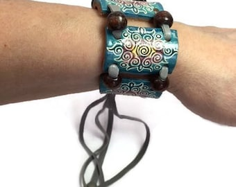 Boho Bracelet Leather Boho Bracelet Bohemian Painted Leather Wrap Fringe Jewelry