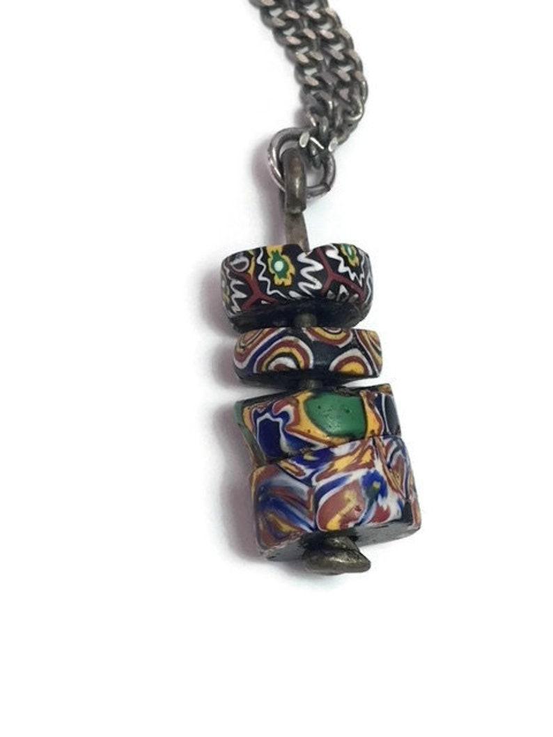Millifiori Beads Necklace Colored Glass Beaded Necklace Vintage Trade Beads Handmade Murrine Jewelry 1960s