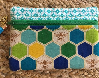 Japanese Echino Decoro Bees Small Zip Pouch-Beehive-Green-Yellow-Aqua