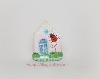 Miniature house, Fairy Garden,Housewarming Gift,Fairy Garden supply,clay house, small cottage,tiny house,Ladybug Ceramic house