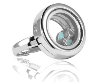 Floating Locket Ring with Choice of 4 Charms (Silver No Stone)