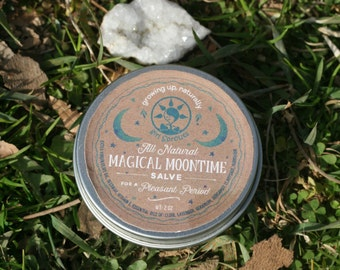 Salve All Natural Magical Moon Time for a Pleasant Period Beeswax and Extra Virgin Olive Oil 2 oz.