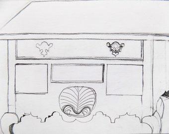 Line Drawing Art, Pencil Drawing, Original Artwork, Graphite Sketch Art,  Bureau, Dresser, Currier Museum