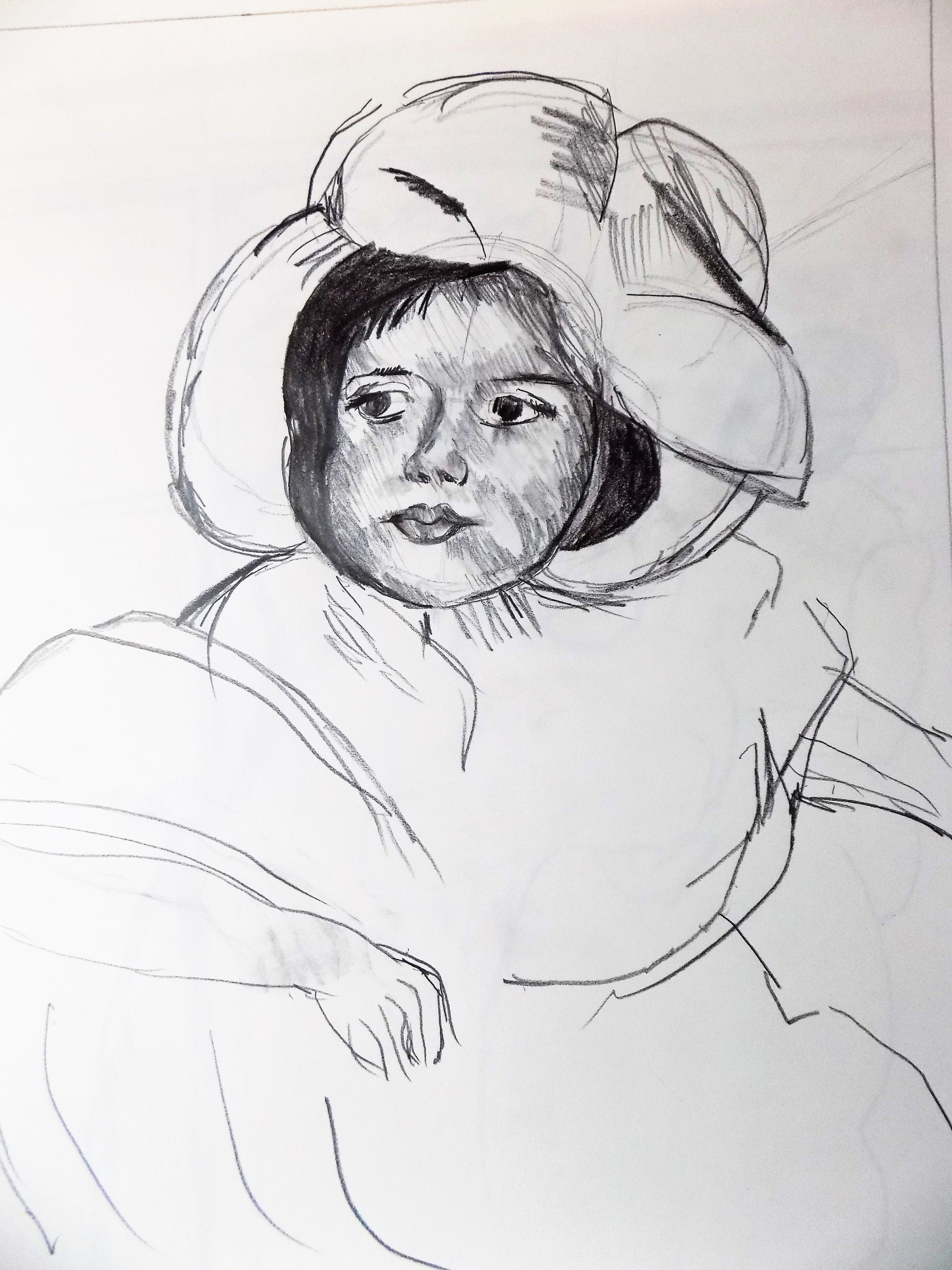 After mary cassatt jeanettepencil drawing graphite drawing pencil sketch baby girl art