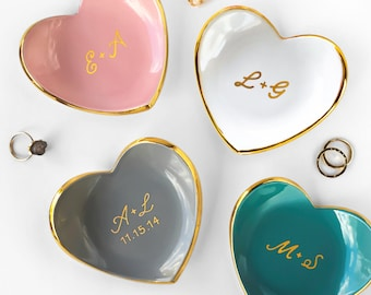 Gold Monogrammed Jewelry Dish, Heart Ceramic Ring Dish - Valentine's Day, Ring Holder, Anniversary, Engagement Gift, Modern Mud