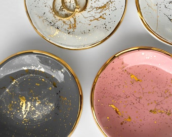"Gold ""Splatter Paint"" Ring Dish - Ceramic Ring Dish, Wedding Favor, Bridesmaids Gift, Tea Light Holder, Jewelry Dish"