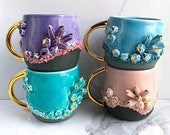 Crystal Mug Geode Mug Aquamarine Modern Mud, Blue and Gold Mug, Handmade Ceramic Mug