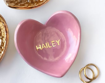 Personalized Ring Dish, Name Ring Dish, Monogram Heart Dish - Pink & Gold Valentine's Day, Ring Holder, Bridesmaid Gift, Wedding Favor
