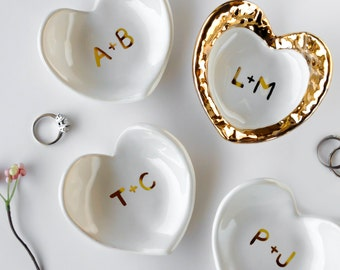White and Gold Monogrammed Jewelry Dish, Heart Ceramic Ring Dish - Valentine's Day, Ring Holder, Anniversary, Engagement Gift, Modern Mud