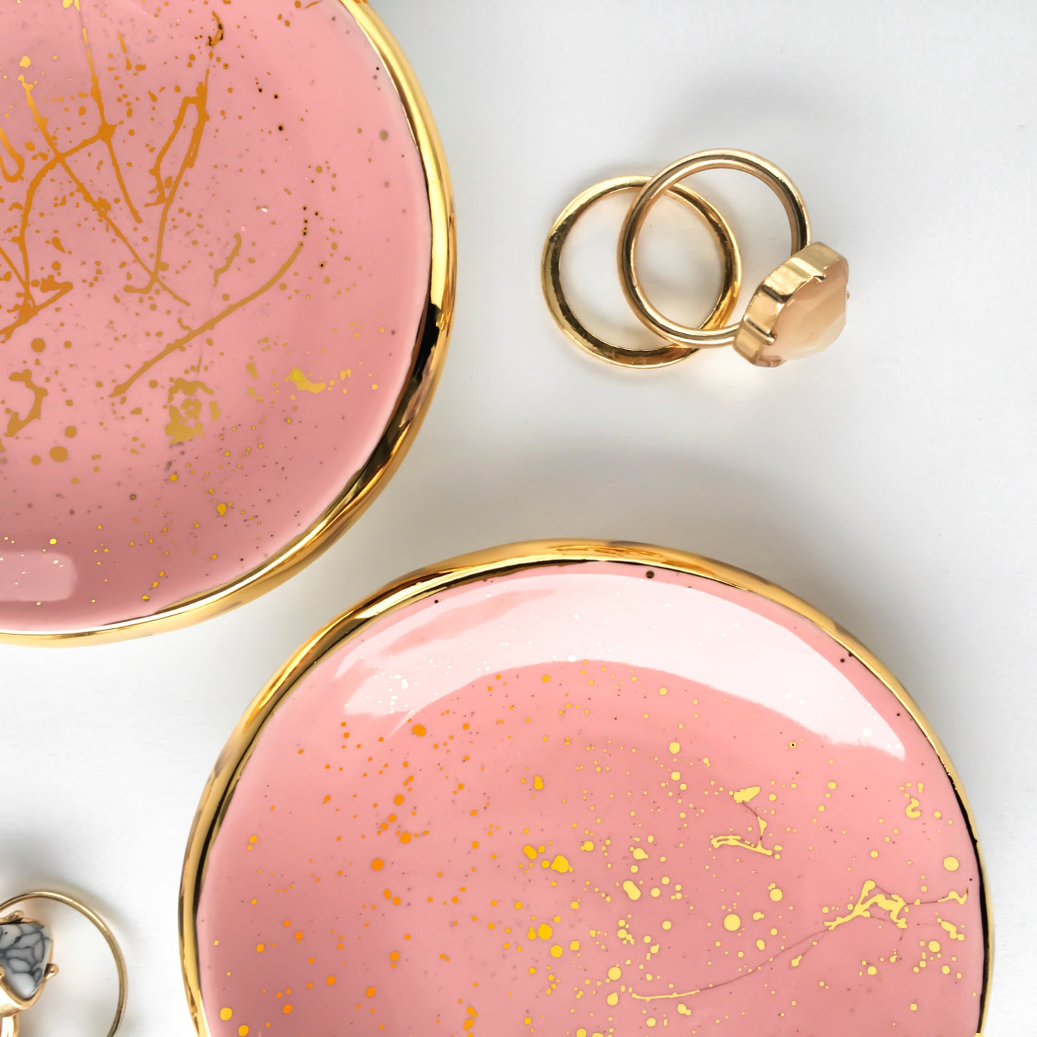 Pink and Gold Splatter Paint Ring Dish Modern