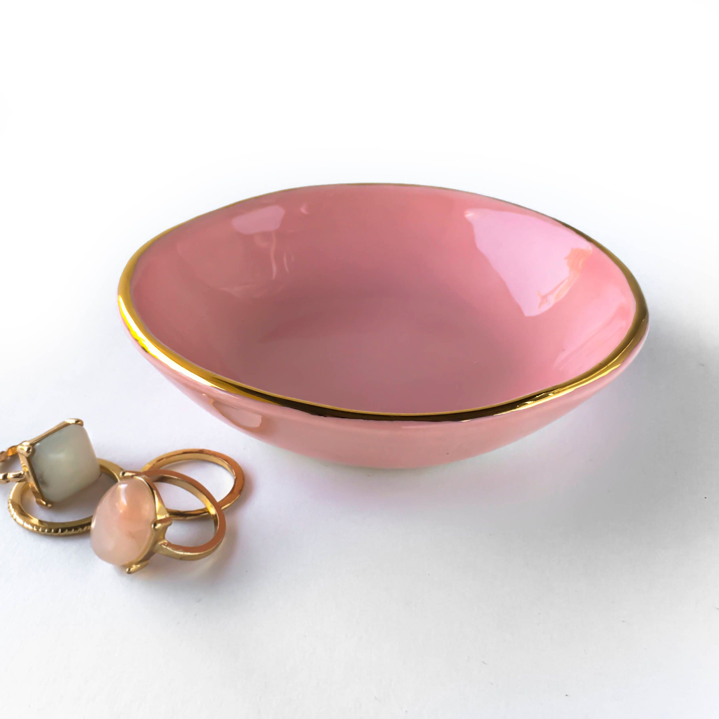 Pink and Gold Ceramic Dish Modern Ceramic Teal Dish | Etsy