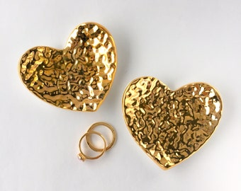 Mini Heart Ring Dish - Hammered Gold Jewelry Holder, Wedding Gift, Valentine's Day, Anniversary, Bridesmaid, Engagement, Mother's Day