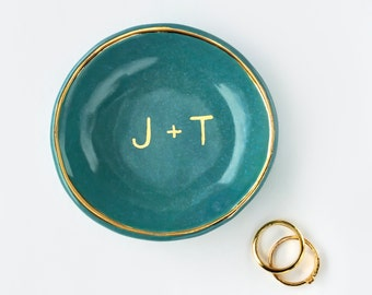 Teal and Gold Personalized Ring Dish, Monogrammed, Valentine's Day, Ring Holder, Anniversary, Engagement, Bridesmaid Gift