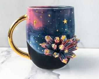 Galaxy Crystal Mug Geode Mug With 22k Gold - Heaven and Earth - Galaxy Mug by Naomi Singer, Modern Mud