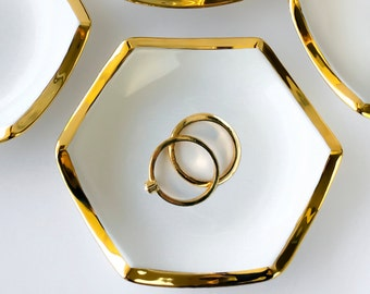 Hexagon Jewelry Dish, White and Gold Ring Holder - Wedding Gift, Valentine's Anniversary Bridesmaid, Engagement, Mother's Day, Wedding Favor