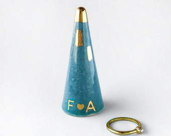 Personalized Ring Cone - Teal and Gold Ceramic Ring Cone, Valentine's Day, Anniversary Gift, Engagement Gift